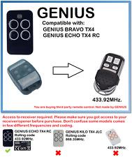 GENIUS BRAVO TX4, ECHO TX4 RC  Compatible Remote Control 433.92MHz.