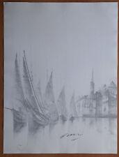 Litho (Ou dessin ?) - signé crayon - signature à indentifier - port voiliers