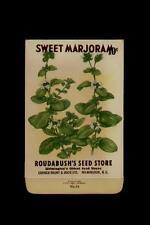 1930's ROUDABUSH'S SEED STORE SWEET MARJORAM SEED PACKET10 CENTS / WILMINGTON NC