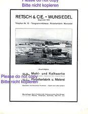 Porzellan Retsch Wunsiedel XL Reklame 1928 Kalkwerk Feldspat Werbung