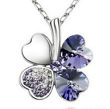 White Gold Plate Amethyst Purple Crystal Four Leaf Clover Necklace N29