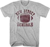 New Jersey Generals LOGO USFL  Men's Tee Shirt Gray Heather Sizes S-5XL