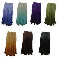 PLUS SIZE BOHO HIPPIE EMBROIDERED OMBRE SCALLOPED HEM GYPSY SKIRT SIZE 12-22