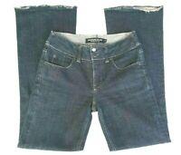 Giordano Blues Womens Denim Jeans Mid Rise Boot Cut Raw Hem Dark Wash Size 25
