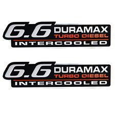 GMC Chevy Duramax DMAX 6.6 Intercooled Turbo Diesel Metal Emblems - Pair