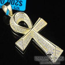 "Lab Diamond Egyptian Ankh Cross Pendant Sterling Silver Round Cut Pave Charm 2"""