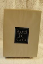VINTAGE ROUND THE CLOCK  STOCKINGS NYLON GARTER HOSIERY LONG COCOA CREME
