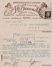 # TRENTO: F.lli GIACOMELLI - CIOCCOLATO BISCOTTI TORRONI 1940 cart. per comunica