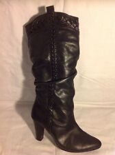 Timeless Black Mid Calf Leather Boots Size 4