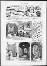 1885 Antique Print - TOWER LONDON Armoury White Tower Dungeon Broad Arrow  (200)