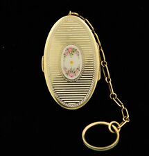 Antique Blackinton&Co Gold On Sterling Silver Enamel Mirror Pendant Box Compact