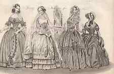 Spring Fashion-Victorian Wedding Dress-Paris-Lady-1842 ANTIQUE VINTAGE ART PRINT