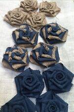 12 Burlap Flowers Natural Midnight Navy Rustic Wedding Baby Shower Boys Room