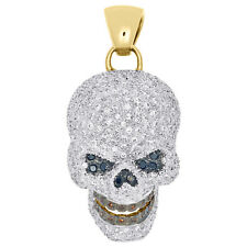 "10K Yellow Gold Color Diamond Talking Skull Head Pendant 1.8"" Pave Charm 3.17 CT"
