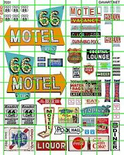 7031 DAVE'S DECALS ROUTE 66 MOTEL LOUNGE ASSORTED SIGNAGE SET BEER DINER LIQUOUR