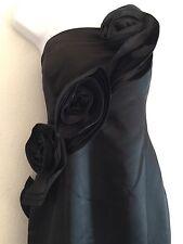 NWT Calvin Klein Black Formal Satin Evening Gown Prom Dress Strapless Size 12