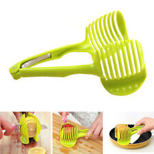 Potato Food Tomato Onion Lemon Vegetable Fruit Slicer Egg Peel Cutter Holder US