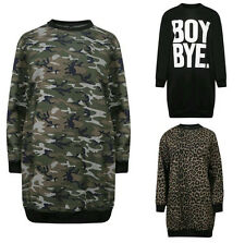 Donna Camouflage Leopardato Oversize Felpa Maglioncino Abito It 8-14