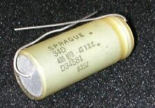 New Electrolytic Capacitors Axial Lead Sprague 400MFD/UF 40V DC