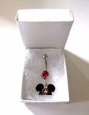 OFFICIAL Disney World Mickey Mouse Club Enamel Pendant on Red Belly Navel Bar