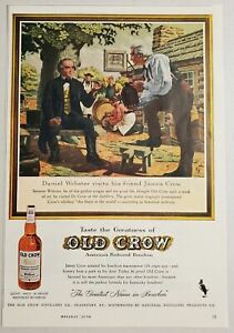 1959 Print Ad Old Crow Kentucky Bourbon Whiskey Daniel Webster & James Crow