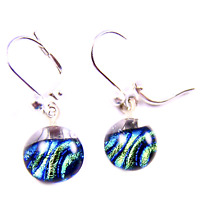 "DICHROIC Glass Earrings Clear Green Olive Blue Striped Lever Dangle 1/4"" 9mm"