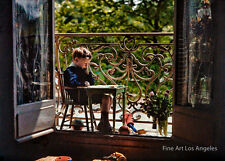 Gustave Gain autochrome photo, Pierre Gain en eleve studieux au balcon, 1909