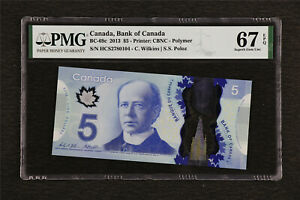 2013 Canada Bank of Canada BC-69c 5 Dollar PMG 67 EPQ Superb Gem UNC