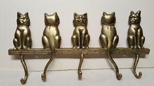 Vintage Hardware Cats & Kitten Bronze Metal Key Holder Mask Holder