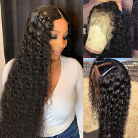 Afro Water Wavy Curly Lace Front Wig Glueless Indian Remy Human Hair Wig Usa C98