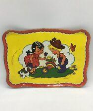 Vintage Ohio Art Tin Litho Tea Tray Girl Boy Wheelbarow Dog Flowers AS IS Stains