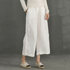 Women 3/4 Linen Trousers Pants Elastic Waist Wide Leg Palazzo Lounge Vintage New