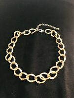 Vintage 80s Gold Tone Chunky Link Chain Necklace / Choker 19 Inch