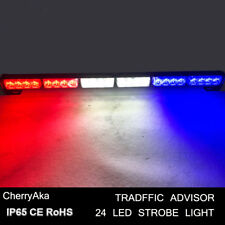 24 LED Emergency Beacon Warning Traffic Advisor Strobe Light Bar Red White Blue