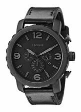Fossil Mens JR1354 Nate Stainless Steel Chronograph Black Leather Band Watch