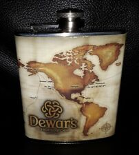 COLLECTABLE DEWARS SCOTCH HIP FLASK 7oz STAINLESS STEEL GREAT CONDITION