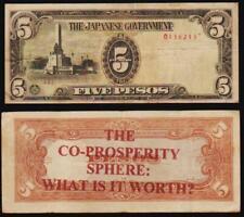 RARE!  PHILIPPINES-JAPAN WWII 1944 FIVE PESO NOTE WITH O/P WAR PROPAGANDA!