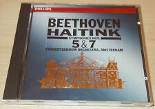 BEETHOVEN-SYMPHONIES 5 & 7-W/G FULL SILVER RING PDO CD 1987-BERNARD HAITINK-MINT