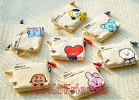 BTS BT21 Canvas Slim Pouch Bag Makeup Case Official KPOP MD Authentic Goods
