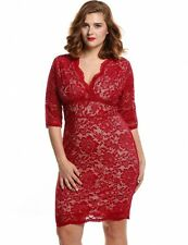 """MARCEL"""" STUNNING LADIES PLUS SIZE 16-18 RED LACE FITTED EVENING COCKTAIL DRESS"""