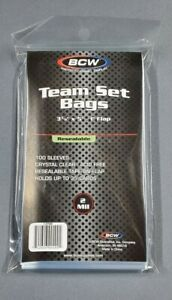 BCW Team Set Bags NEW 100 Resealable Sports Card Holder Sleeves Ultra Pro Pack