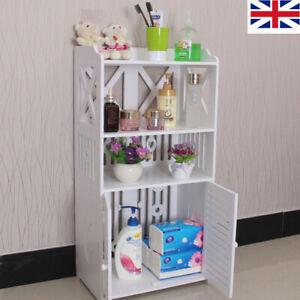 UK 3 Tier Wooden Bathroom Waterproof Cabinet Shelf Cupboard Bedroom Storage Unit