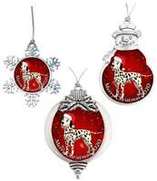 Dalmatian Santa Hat 2020 Christmas Silver Ornament Gift Snowman Snowflake Bulb