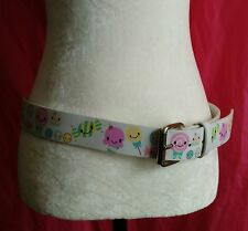 Womens Size Large Cute Kawaii White Leather Belt Candy & Ice Cream Cones