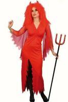 Ladies Red devil lady fancy dress costume Women Halloween Outfit 12 14