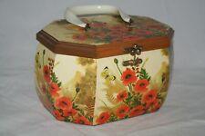 Vintage Box Purse Travel Vanity Case Poppies Flowers Lucite Handle Signed Verah