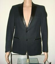 NEW W/TAG VERSACE BLAZER BLACK TUXEDO EVENING SLIM SUIT JACKET LEATHER 38 MENS