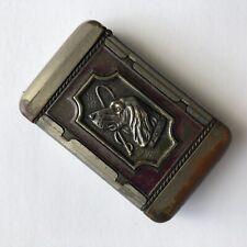 Antique Match Safe Holder Vespa Case Hunting Motif Dog & Deer