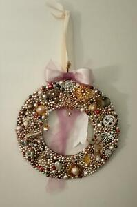 Handmade Vintage contemporary jewelry encrusted art wreath by local artist