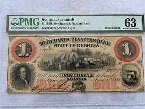 1859 Merchants and Planters Bank, Savannah GA.  $1 One Dollar PMG Certified